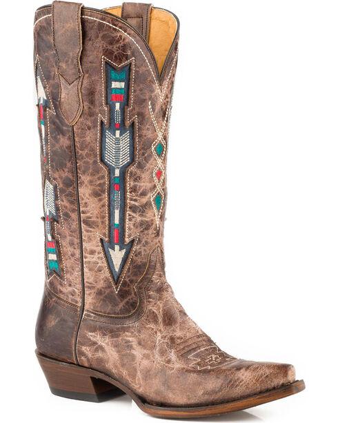 Roper Women's Brown Arrows Leather Boots - Snip Toe , Brown, hi-res