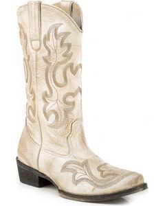 Roper Women's Pearl Western Boots - Snip Toe , Tan, hi-res