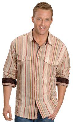 Scully Tan Seersucker Striped Western Shirt, Tan, hi-res