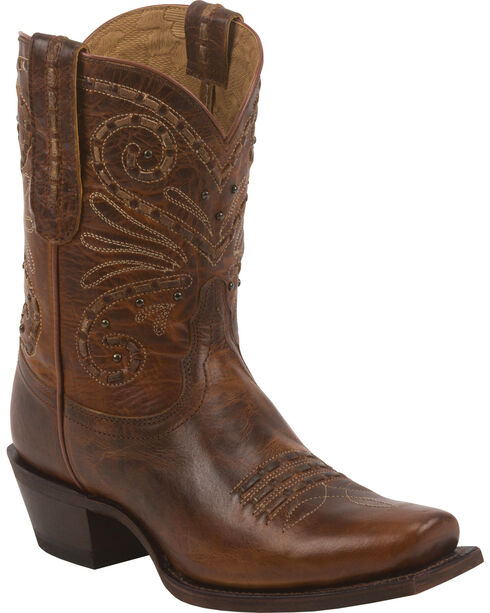 Tony Lama Tan Baja 100% Vaquero Cowgirl Booties - Square Toe, Tan, hi-res