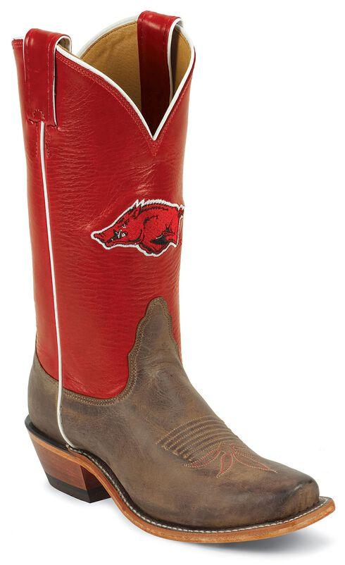 Nocona Women's University of Arkansas College Boots - Snip, Tan, hi-res