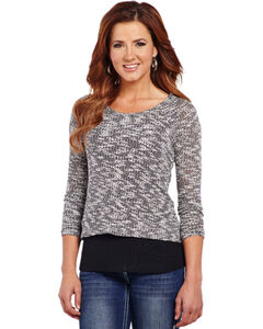 Cowgirl Up Women's Cut-Out Back Sweater Knit Top, Beige, hi-res