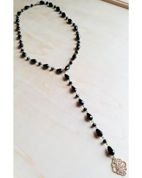 Jewelry Junkie Women's Black Faceted Rosary Necklace , Black, hi-res