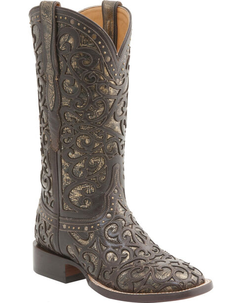 Lucchese Women's Sierra Lasercut Western Boots - Square Toe , Espresso, hi-res