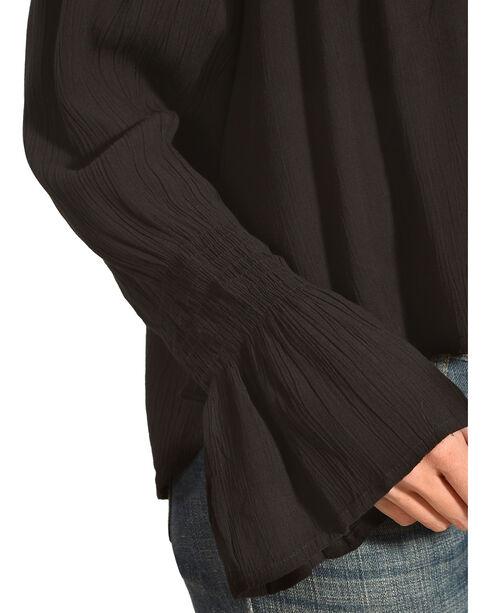 Derek Heart Women's Embroidered Long Sleeve Top, Black, hi-res