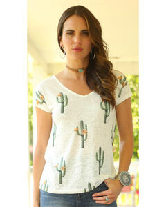 Wrangler Women's Short Sleeve Cut Out Back Cactus Print Top, Cream, hi-res