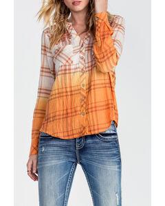 Miss Me Women's Orange Ombre Long Sleeve Plaid Shirt , Orange, hi-res