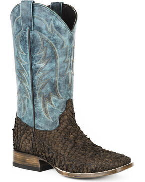 Stetson Men's Amazon Fish Western Boots - Square Toe , Brown, hi-res