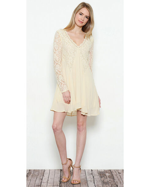 Illa Illa Women's Long Sleeve Lace Dress, Beige/khaki, hi-res