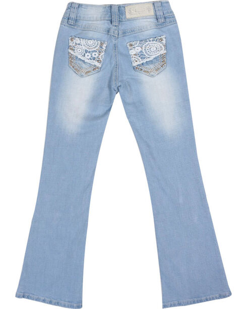 Shyanne Girls' Lace & Bling Boot Cut Jeans , Light Blue, hi-res