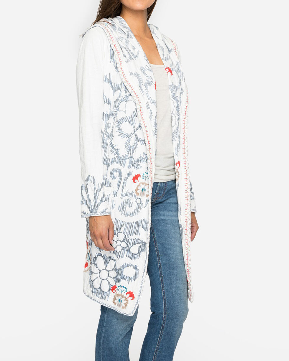 Johnny Was Women's Dicego Embroidered Hoodie, Ivory, hi-res