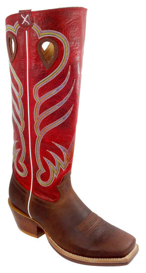 "Twisted X Red 17"" Buckaroo Cowboy Boots - Square Toe , Saddle Brown, hi-res"