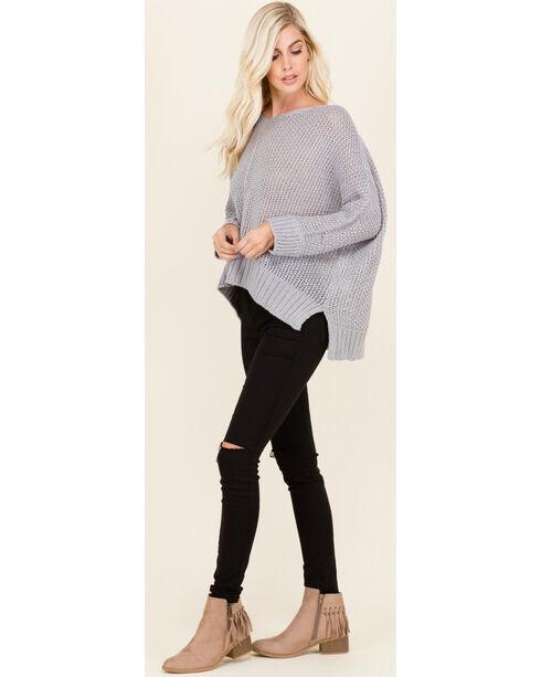Polagram Women's 3/4 Sleeve Scoop Neck Sweater , Grey, hi-res
