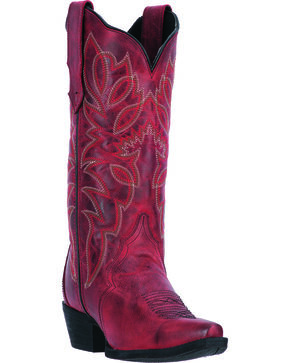 Laredo Women's Red Leeza Cowgirl Boots - Snip Toe, Red, hi-res