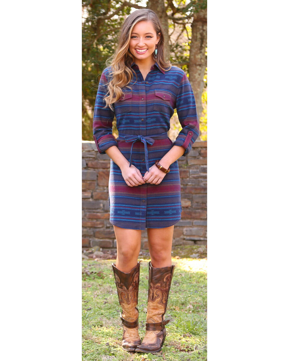Wrangler Women's Aztec Flannel Shirt Dress, Navy, hi-res