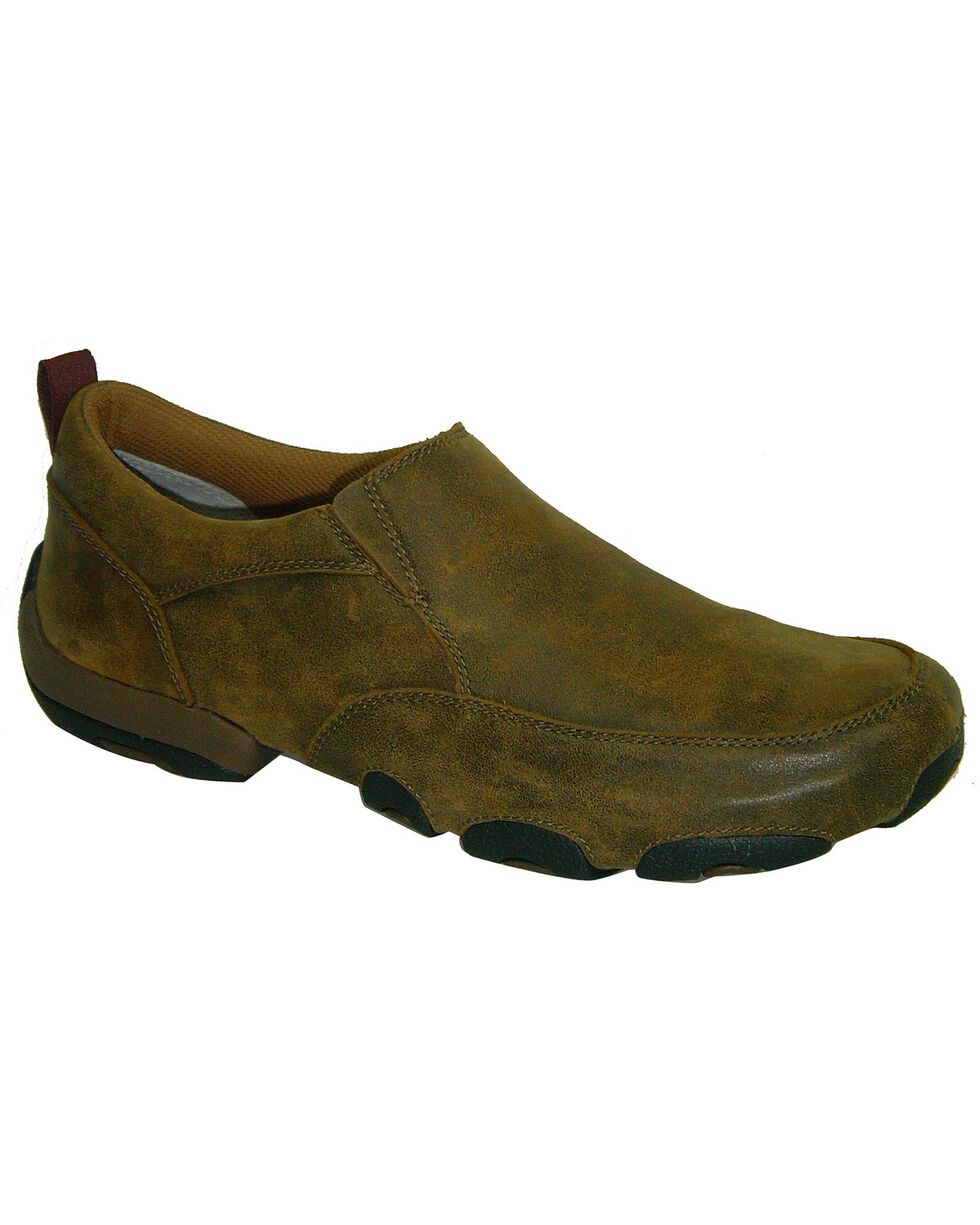 Twisted X Driving Slip-On Moccasin Shoes - Round Toe, Brown, hi-res