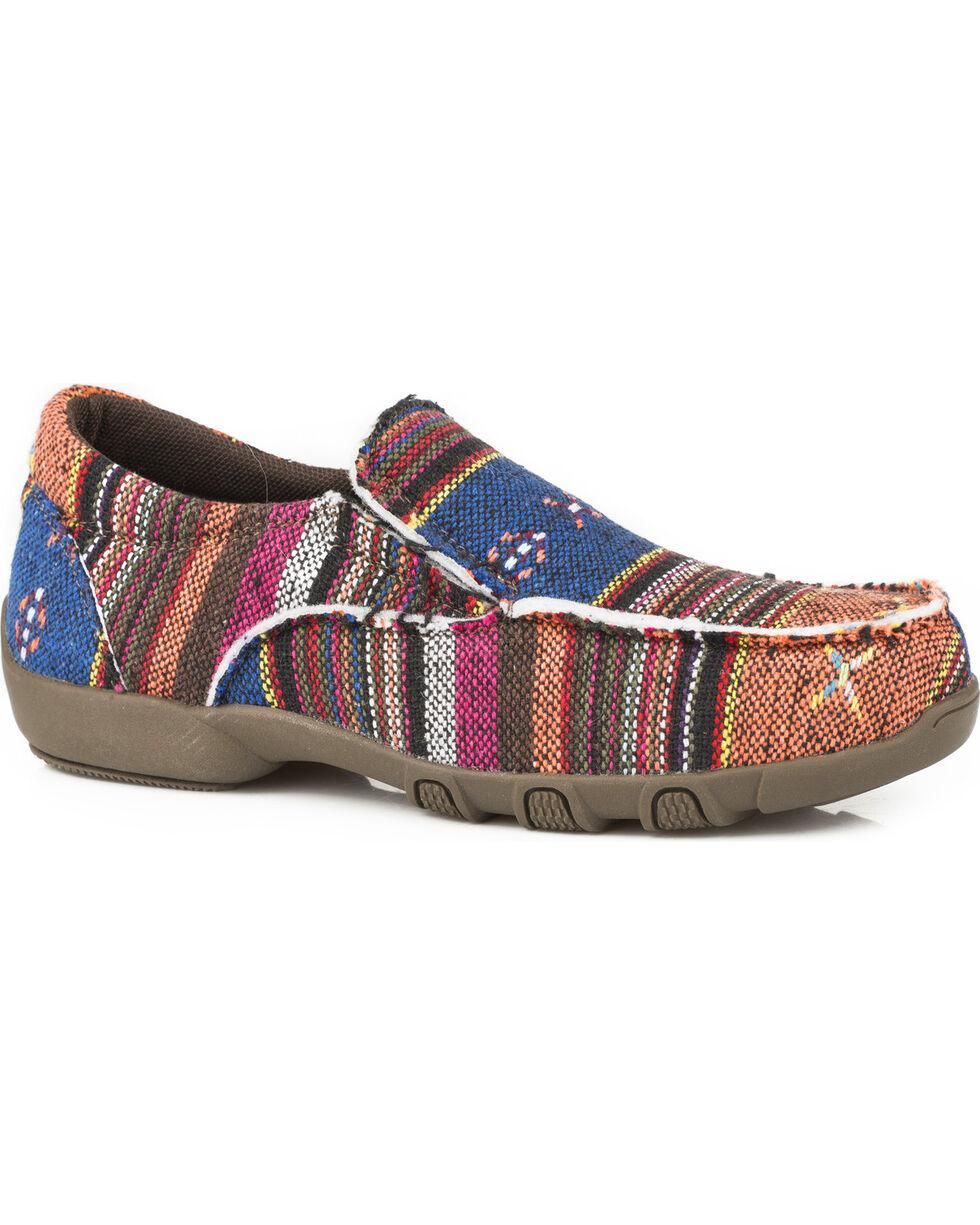 Roper Girls' Johnnie Multicolor Rust Aztec Driving Mocs - Moc Toe, Tan, hi-res