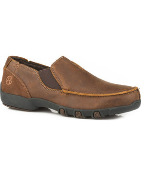 Roper Men's Buzzy Vintage Brown Leather Driving Mocs - Moc Toe, Brown, hi-res