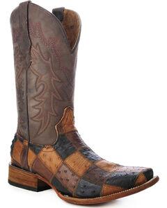 Circle G Ostrich Patchwork Cowboy Boots - Square Toe, Brown, hi-res