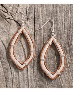 Shyanne Women's Leather Wrapped Teardrop Earrings, Silver, hi-res