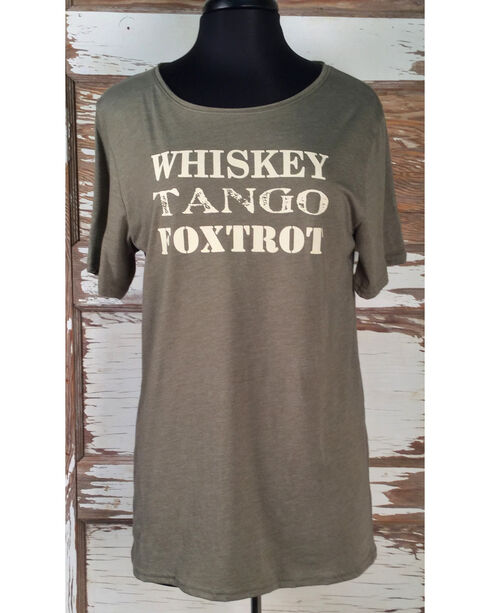 Cowgirl Justice Women's Whiskey Tango Short Sleeve Tee , Olive, hi-res