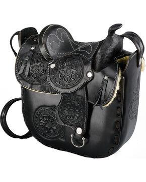Western Express Women's Leather Saddle Bag, Black, hi-res