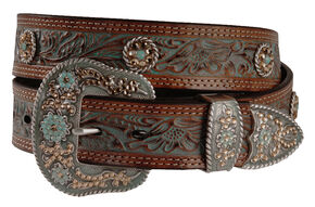 Nocona Concho Accent Painted Leather Western Belt, Tan, hi-res