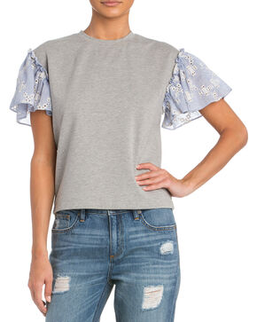 Miss Me Top with Ruffle Sleeves, Grey, hi-res