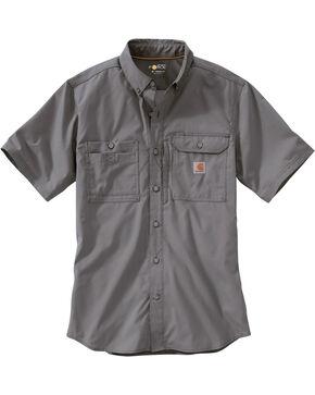 Carhartt Men's Force Ridgefield Short Sleeve Solid Shirt, Charcoal Grey, hi-res