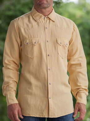 Ryan Michael Men's Wheat Silk Linen Sawtooth Snap Shirt, Wheat, hi-res