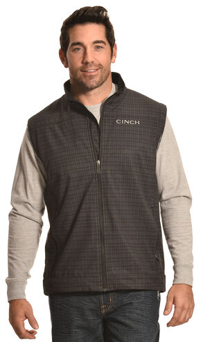 Cinch Men's Black and Gray Logo Bonded Vest, Black, hi-res