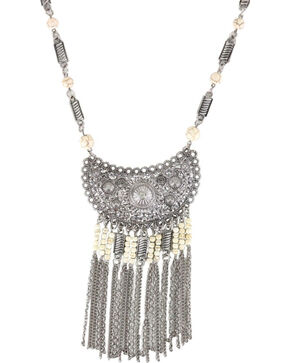 Shyanne Women's Scallop Fringe Necklace , Silver, hi-res