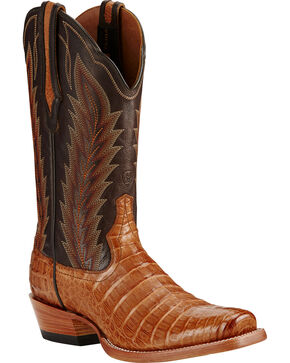 Ariat Tan Turnback Caiman Belly Cowboy Boots - Square Toe, Tan, hi-res