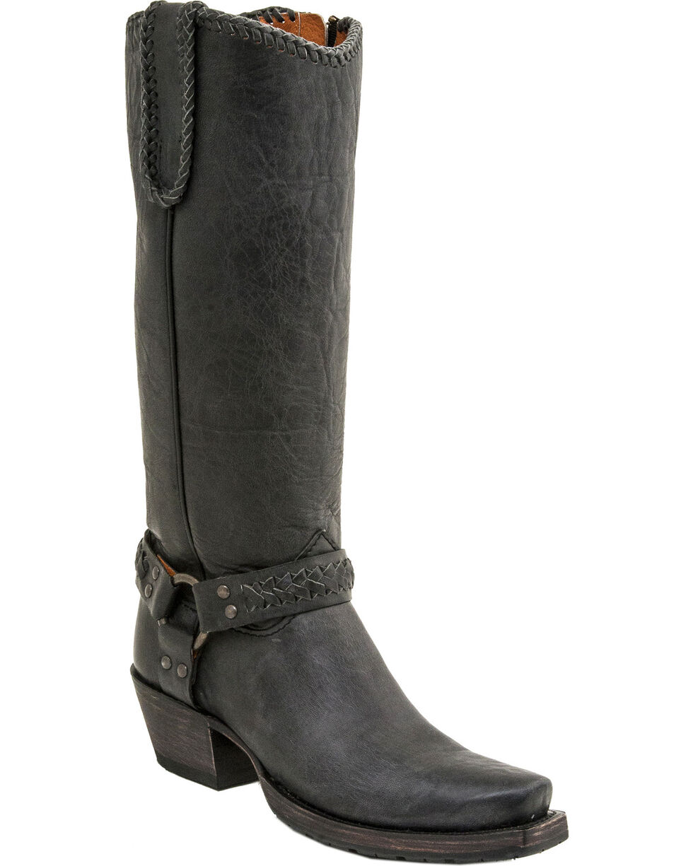 Lucchese Women's Handmade Harness Lug Boots - Square Toe, Black, hi-res
