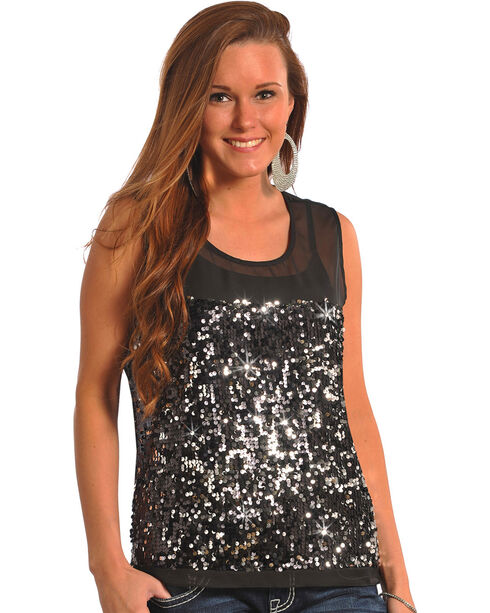 Rock & Roll Cowgirl Women's Black Sequin Georgette Tank Top , Black, hi-res