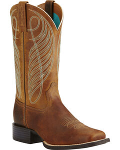Ariat Women's Round Up Cowgirl Boots - Square Toe, Brown, hi-res