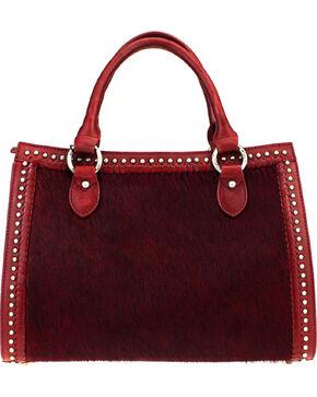 Montana West Delila Satchel 100% Genuine Leather Hair-On Hide Collection in Burgundy, Burgundy, hi-res