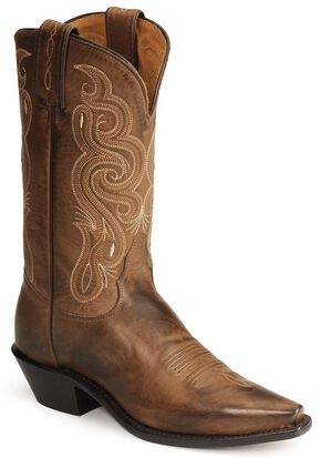 Tony Lama Stallion Leather Americana Cowboy Boots, Brown, hi-res