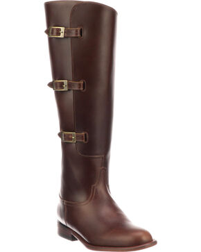 Lucchese Women's Bruna Brown Buckle Fashion Boots - Round Toe, Chocolate, hi-res