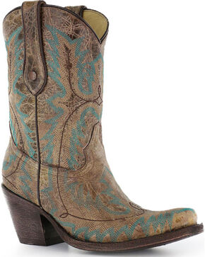 "Corral Women's 9"" Stitched Fashion Western Boots - Snip Toe, Brown, hi-res"