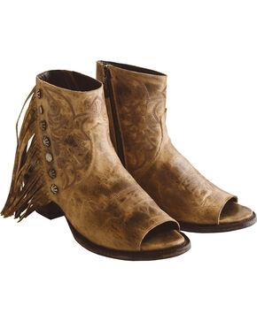 Lane Women's Tan Seally Fringe Boots - Open Toe, Tan, hi-res