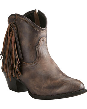 Ariat Women's Chocolate Duchess Braided Fringe Short Western Boots - Round Toe, Chocolate, hi-res
