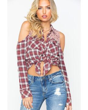 Bits of Beauty Women's Plaid Lace Yoke Cold Shoulder Shirt , Burgundy, hi-res