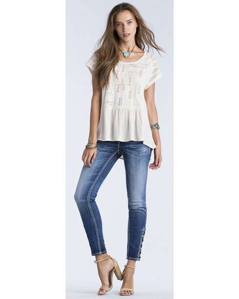 Miss Me Women's Taupe Embroidered Cross Back Short Sleeve Top , Taupe, hi-res