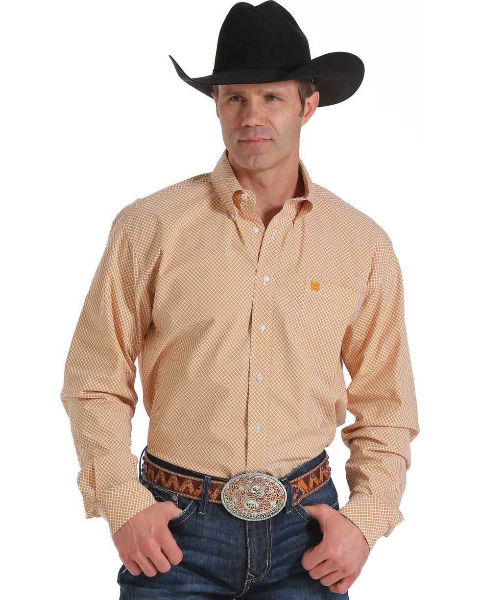 Cinch Men's Orange Plaid Long Sleeve Western Shirt, Orange, hi-res