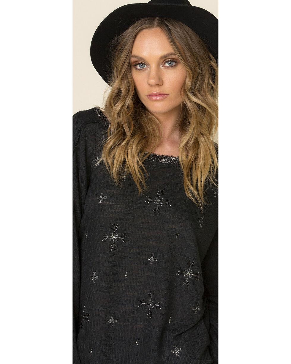 Miss Me Women's Snowflake Long Sleeve Shirt, Black, hi-res