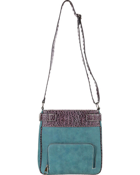 Savana Women's Turquoise Concho Cross Messenger Bag, Turquoise, hi-res