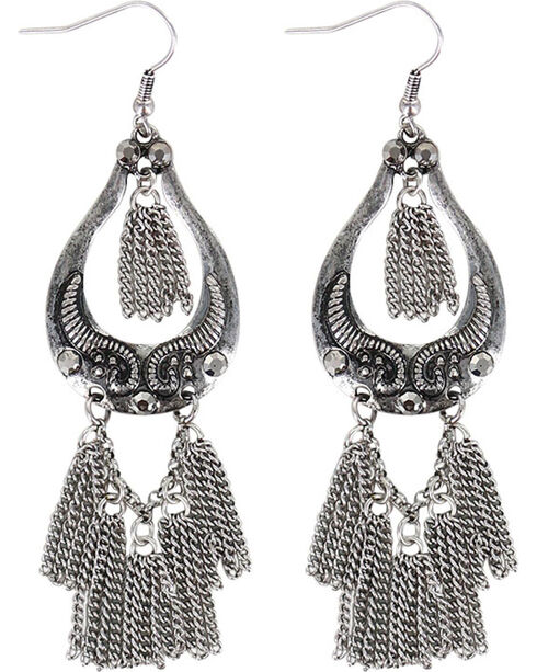 Shyanne Women's Silver Dangle Chain Earrings , Silver, hi-res