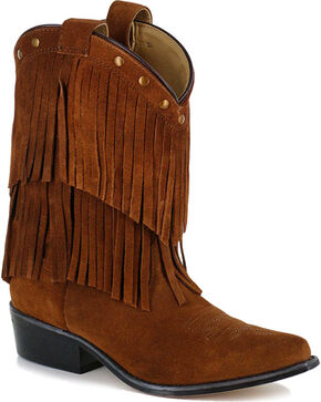 Shyanne Girls' Brown Double Fringe Western Boots - Snip Toe, Brown, hi-res