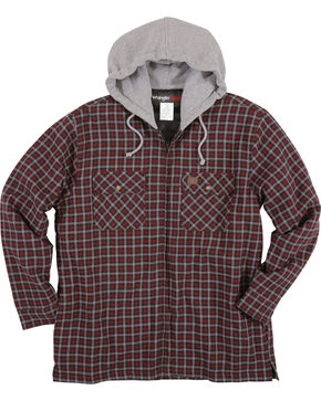 Wrangler Men's Burgundy Riggs Workwear Hooded Flannel Jacket , Burgundy, hi-res